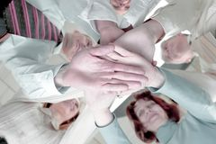 Closeup. professional business team shows its unity.the concept of teamwork royalty free stock photo