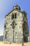 Bottom view on of the tall tower the bell tower in the monastery of Haghpat Royalty Free Stock Images