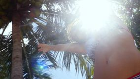 Bottom of view of young woman in bikini dances stands under the palm tree with coconuts on the sun on the