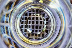 Bottom of water filled glass Royalty Free Stock Photo