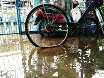 Bottom of wheel soak in water. Bottom of wheel of bicycle and motorcycle soak in water on the floor Royalty Free Stock Photo