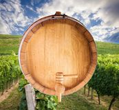 Wine barrel over vineyard stock image