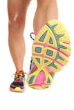Bottom of woman shoe legs forward Stock Photo