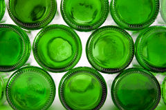 Bottoms of bottles of green Stock Photos