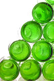 Bottoms of empty glass bottles.Close up Stock Image