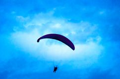 Botton up view of a paraglider flying. On the sky Royalty Free Stock Image