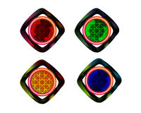 Bottone al neon sul bianco Fotografie Stock