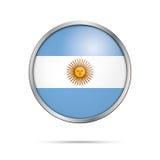 Bottone argentino della bandiera di vettore Bandiera dell'Argentina in bottone di vetro Immagini Stock