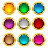 Bottone arrotondato di web con la struttura dell'oro Immagini Stock