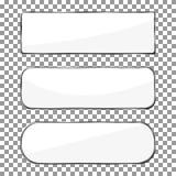 Bottone in bianco dell'insegna con la struttura d'argento del metallo Vecto dell'insegna di Chrome Fotografia Stock Libera da Diritti