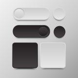 Bottone in bianco e nero stabilito in tondo e bottoni quadrati Fotografia Stock