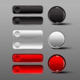 Bottone in bianco e nero stabilito in tondo e bottoni quadrati Fotografia Stock Libera da Diritti