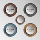 Bottone in bianco e nero stabilito in tondo e bottoni quadrati Immagini Stock