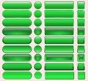 Bottone in bianco e nero stabilito in tondo e bottoni quadrati Immagine Stock