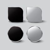 Bottone in bianco e nero stabilito in tondo e bottoni quadrati Immagine Stock Libera da Diritti
