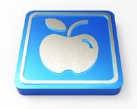 Bottone blu 3D di Apple Fotografia Stock Libera da Diritti