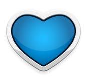 Bottone blu del cuore Fotografia Stock Libera da Diritti