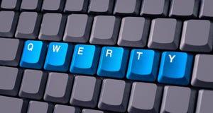 Bottone blu di qwerty sulla tastiera Fotografia Stock