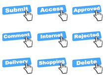 Bottone blu stabilito di web di colore Fotografia Stock Libera da Diritti