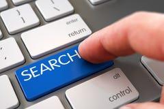 Bottone commovente di ricerca della mano 3d Immagine Stock Libera da Diritti