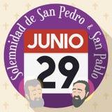 Bottone con il calendario per solennità dei san Paul e Peter, illustrazione di vettore Fotografia Stock