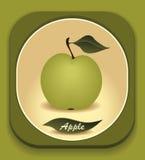 Bottone con la mela verde e con la foglia Fotografia Stock Libera da Diritti