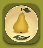 Bottone con la pera gialla e con la foglia Immagini Stock Libere da Diritti