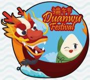 Bottone con Zongzi tradizionale sopra Dragon Boat per il festival di Duanwu, illustrazione di vettore Fotografia Stock Libera da Diritti