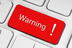 Bottone d'avvertimento rosso Fotografia Stock