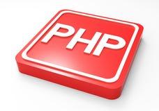 Bottone 3D rosso di codice del PHP Fotografie Stock