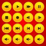 Bottone del cerchio dell'icona del lettore multimediale dell'oro audio video Immagini Stock