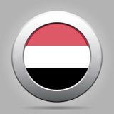 Bottone del metallo con la bandiera dell'Yemen Immagini Stock