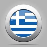 Bottone del metallo con la bandiera della Grecia Fotografie Stock