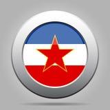 Bottone del metallo con la bandiera della Iugoslavia Fotografia Stock Libera da Diritti