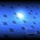 Bottone del quadrato di clic del cursore della mano Fotografia Stock Libera da Diritti