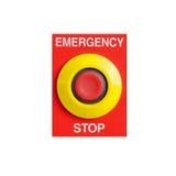 Bottone dell'arresto di emergenza isolato su fondo bianco Fotografia Stock Libera da Diritti