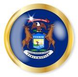 Bottone della bandiera del Michigan Immagini Stock