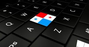 Bottone della bandiera del Panama sulla tastiera del computer portatile Fotografia Stock