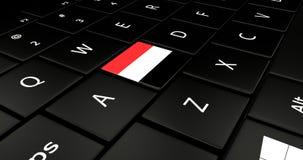 Bottone della bandiera dell'Yemen sulla tastiera del computer portatile Fotografia Stock