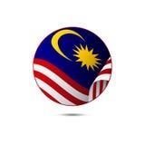 Bottone della bandiera della Malesia con ombra su un fondo bianco Vettore illustrazione vettoriale