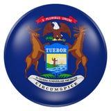 Bottone della bandiera dello stato del Michigan Immagini Stock