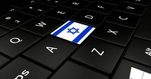Bottone della bandiera di Israele sulla tastiera del computer portatile Immagine Stock