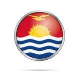 Bottone della bandiera di Kiribatian di vettore Bandiera del Kiribati nel porcile di vetro del bottone Immagini Stock Libere da Diritti
