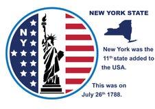 Bottone dello Stato di New York con la mappa e la statua della libertà Immagine Stock Libera da Diritti