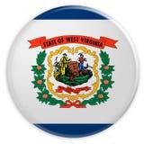 Bottone dello stato USA: Illustrazione ad ovest di Virginia Flag Badge 3d su fondo bianco illustrazione di stock