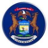 Bottone dello stato USA: Illustrazione del distintivo 3d della bandiera del Michigan su fondo bianco illustrazione di stock