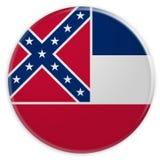 Bottone dello stato USA: Illustrazione del distintivo 3d della bandiera del Mississippi su fondo bianco illustrazione di stock