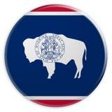 Bottone dello stato USA: Illustrazione del distintivo 3d della bandiera del Wyoming su fondo bianco royalty illustrazione gratis