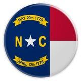 Bottone dello stato USA: Illustrazione del nord di Carolina Flag Badge 3d su fondo bianco illustrazione di stock