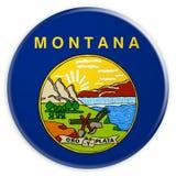 Bottone dello stato USA: Illustrazione di Montana Flag Badge 3d su fondo bianco illustrazione di stock